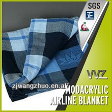 Modacrylic flame retardant woven throw airline blanket with jacquard logo travel blanket gift blanket
