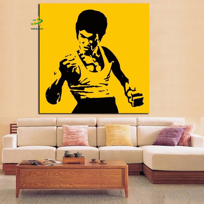 Bruce Lee Portrait Canvas Painting Classic Action Fabric Picture ...
