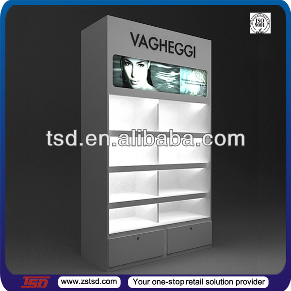 cabinet shop three display cosmetic product for row wall stands detail