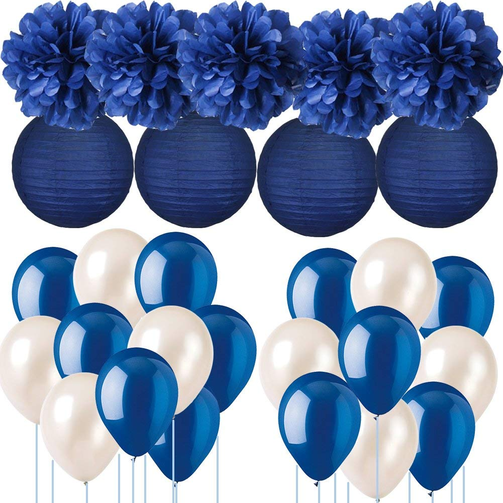 Navy Blue Wedding Decorations Tissue Paper Pom Poms Lanterns With Balloons Kit For Birthday Party