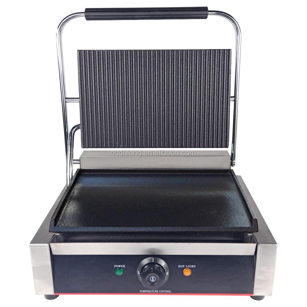 PANINI MACHINE CONTACT GRILL TOASTER SANDWICH MAKER FLAT RIBBED 2200 W NEW