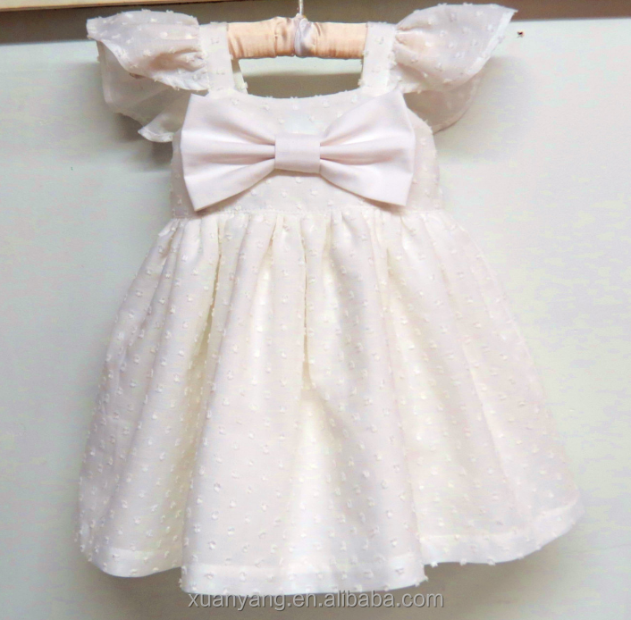 2017 One Piece Modern Children Cotton Flutter Sleeve Baby Girls Summer Pinafore Dress