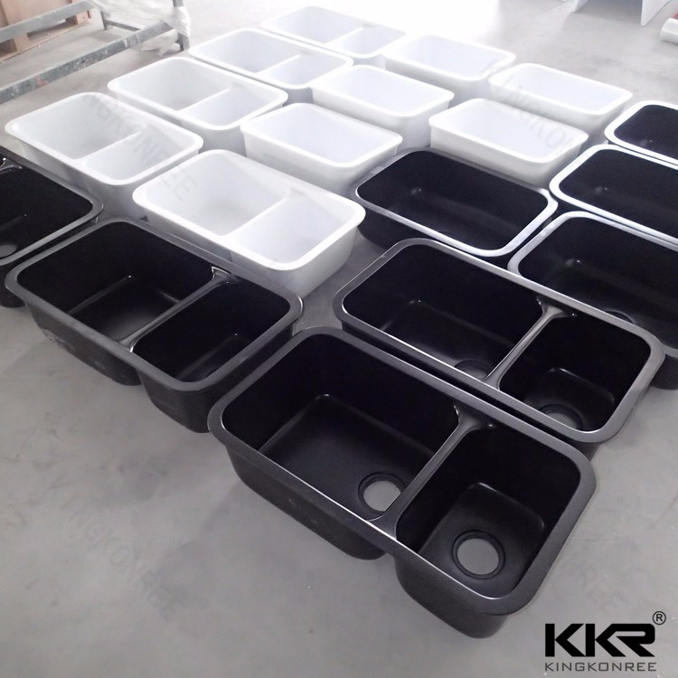 Solid surface white single bowl square kitchen sink buy for Solid surface kitchen sink