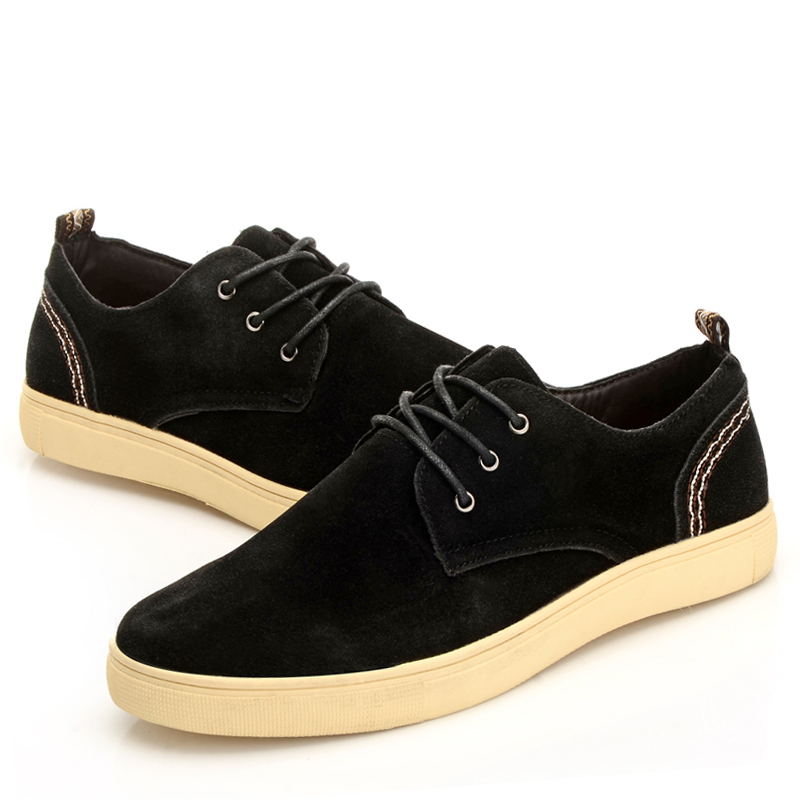 2015 hot sale spring autumn men black rubber solid suede leather men's casual fashion shoes lace-up sapatos masculinos for man