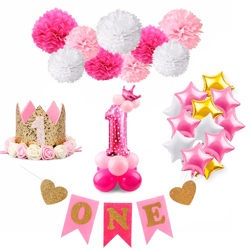Baby Shower Decoration Set Happy Birthday Favors Banner Balloon and Photobooth set