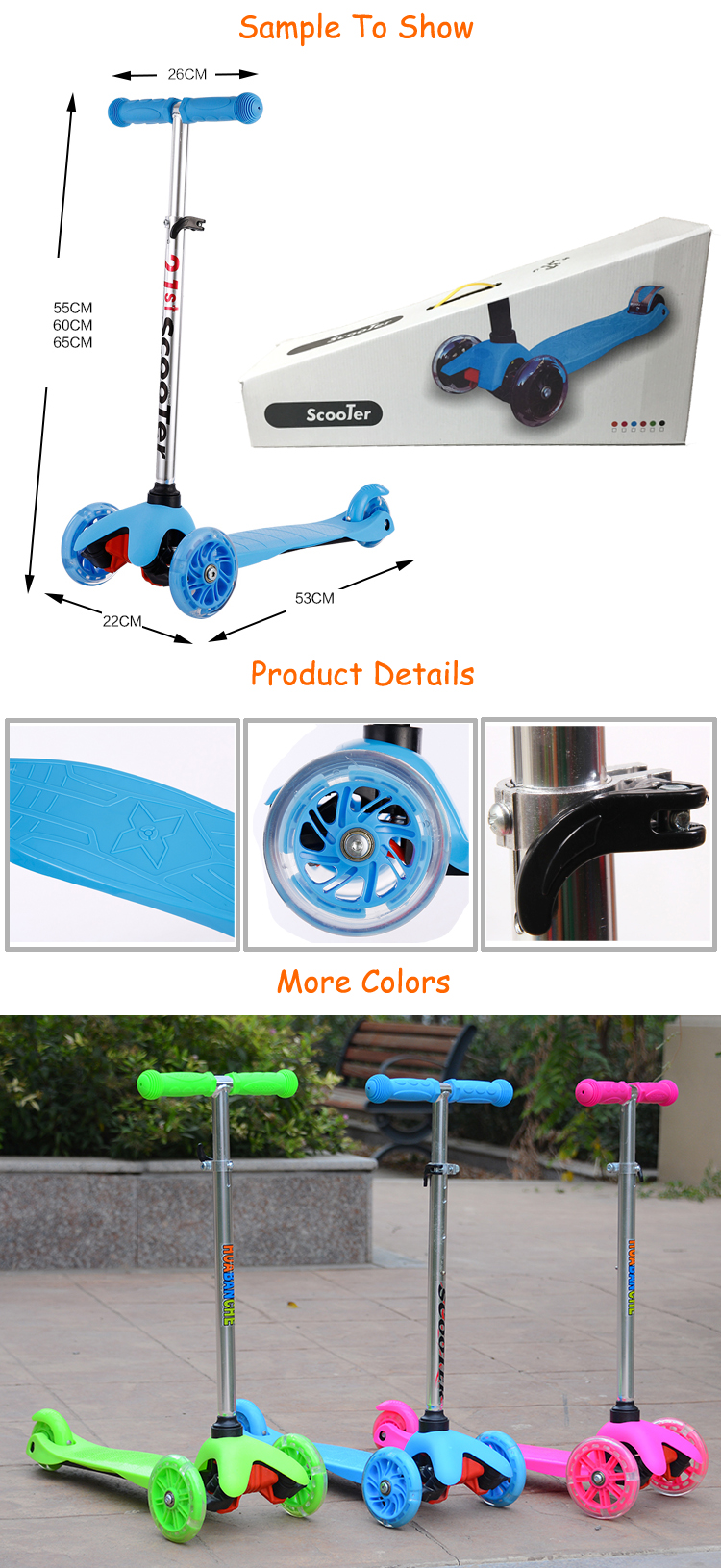 Buy online best cheap price rock riding flicker blue toys plegable baby scooter for boy 1 2 year old in india