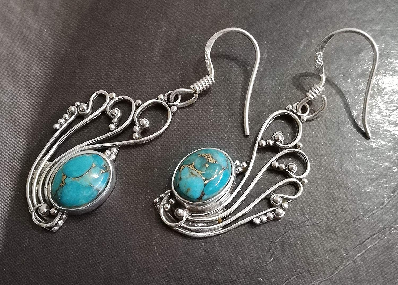 Blue Copper Turquoise Earrings, 925 Sterling Silver, Blue Long Dangle Earrings, Wisdom Earrings, Motivating Earrings, Attractive Earrings, Fabulous Earrings, Modern Art Jewelry, Unique Style Earrings