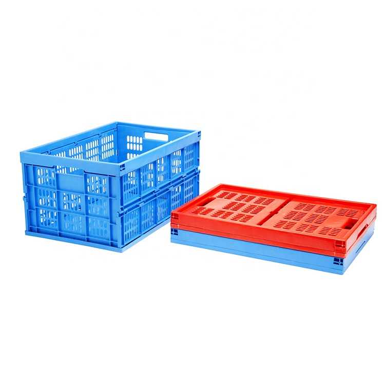 hot sale eurosize 61L straight wall foldable plastic moving crates and Logistics transfer boxes for storage