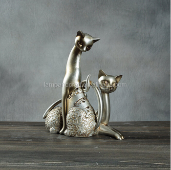 2016 Uk Handmade Cat Statue Resin Craft Home Decor With White
