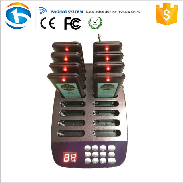 Take-out Restaurant Queue Number Wireless Food Buzzer with One Transmitter and 12 Pagers