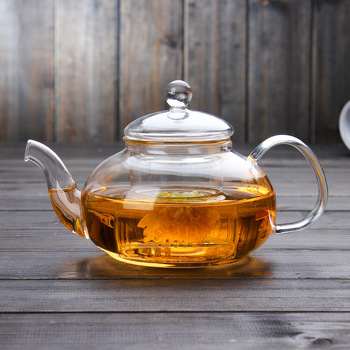 factory supply 600ml high borosilicate glass teapot with infuser
