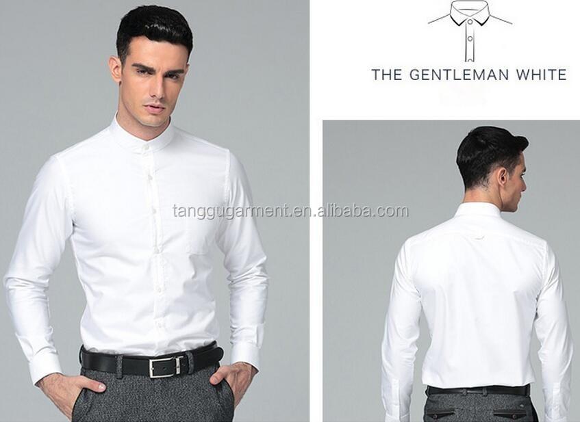 T-mss558 Men's 100% Cotton Oxford Collarless Pain White Dress ...