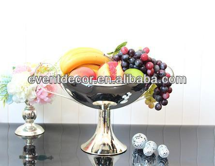 Metal Handicraft Decorative Metal Fruit Bowl Salad Serving Bowl With Stand 3063