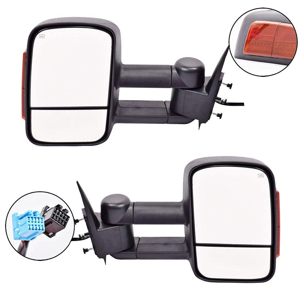 DEDC Tow Mirrors For Silverado 1500 Tow Mirrors For Silverado 2500 Towing Mirrors Power Heated With Signal Lights Foldable Pair For 2003-2006 Chevy Silverado GMC Sierra
