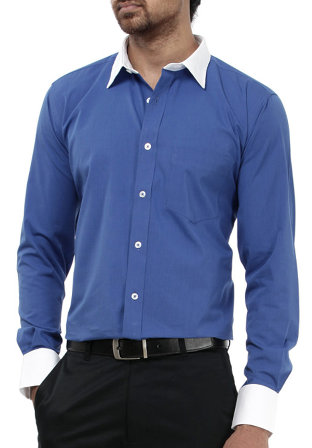 Mens High Quality Solid Colour Shirt With Contrast Cuff And Collar