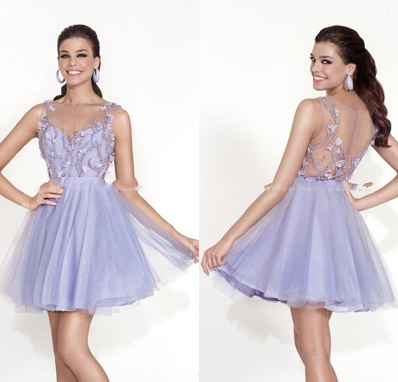 2015 Lovely Puffy Short Prom Dresses For Teens Light Purple Tulle  Graduation Party Gowns Lace Appliqued Top