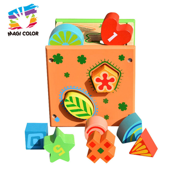 Wholesale intelligent wooden shape match blocks unlock box toy for toddler W12F023