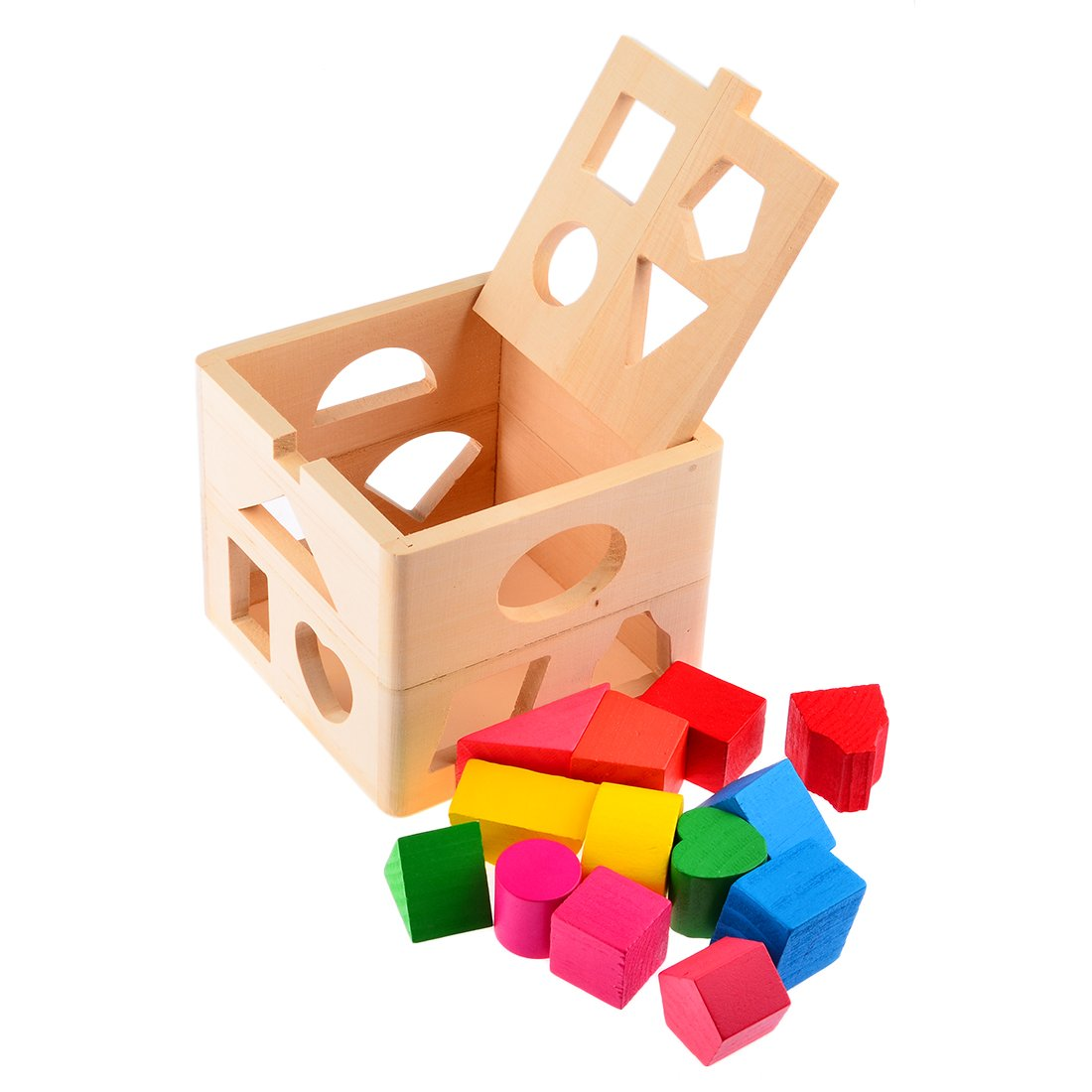 Intelligence Box, Yamix 13 Holes Intelligence Box Wooden Shape Sorter Geometric Sorting Box Cognitive Matching Wooden Shape Color Recognition Building Blocks Baby Kids Children Eductional Toy