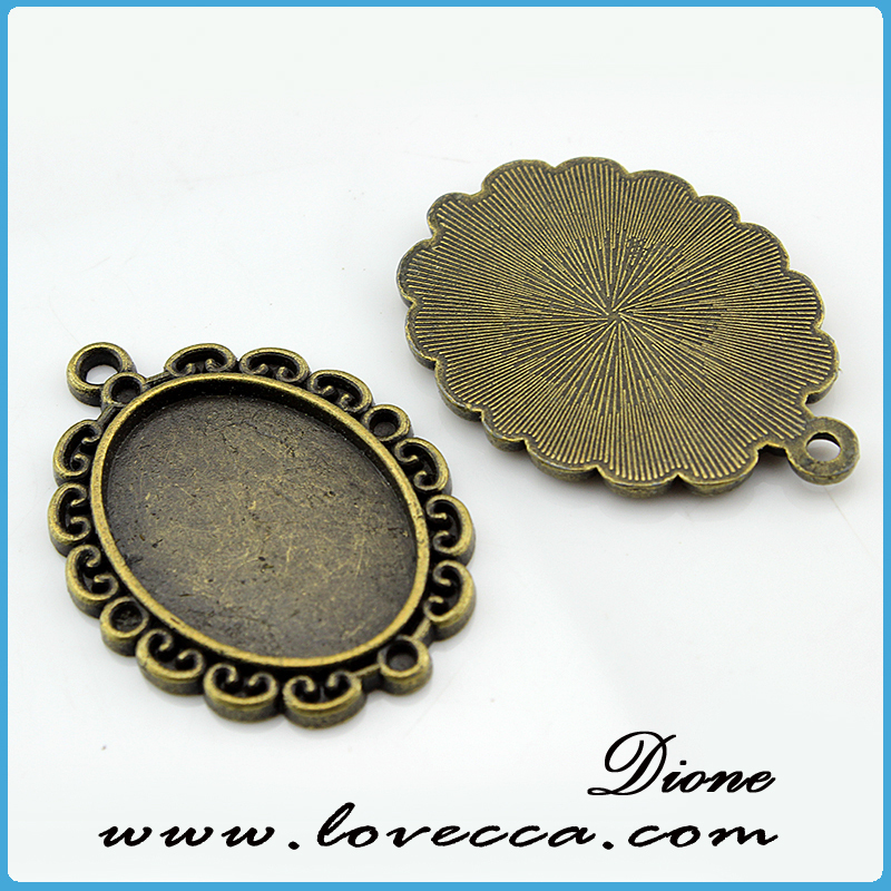DIY jewelry bronze setting	,DIY jewelry cameo jewelry settings,Metal Charms Flower setting