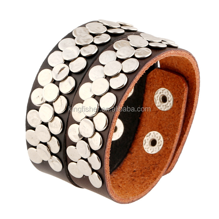 2016 New design silver alloy disc pave men fashion leather bangle made in China