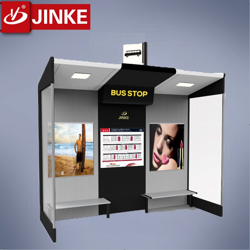 Customized Aluminum Structure Wifi Bench Solar Bus Shelter Wifi And Gps Announcer Available