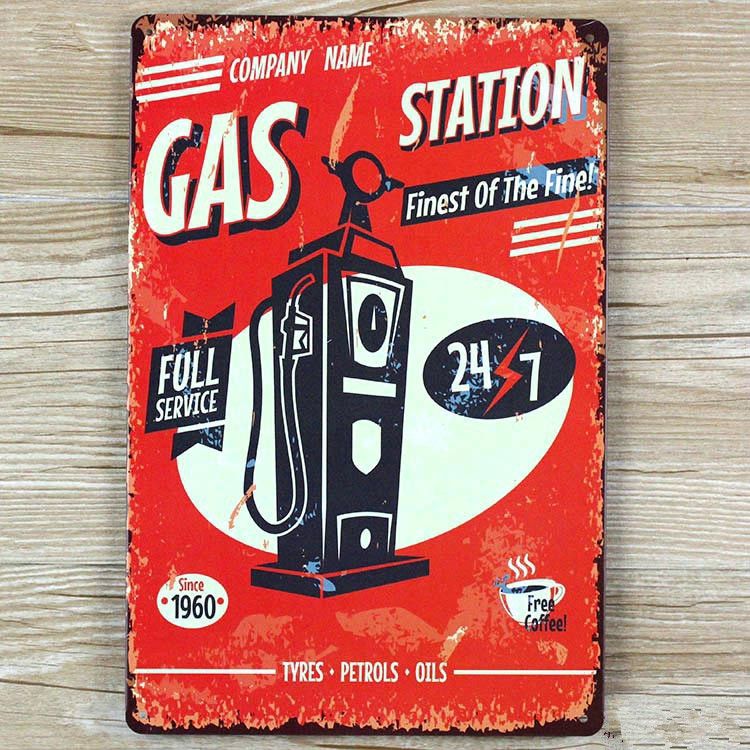 about gas station LLBT0161 vintage home decor metal Tin signs for bar about car wall art craft Metal plaque 20X30 CM