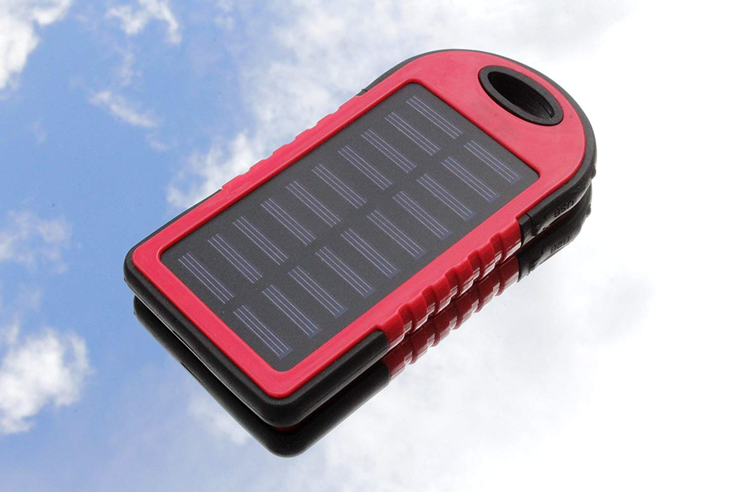 Solar Charger Water-Resistant 30000mAh Power Bank + LED Flashlight EZSTATION Solar Panels Portable Re-Chargable Battery 2X USB For iPhone X 8 7 6 plus iPad Galaxy Outdoor Camping Travelling (RED)