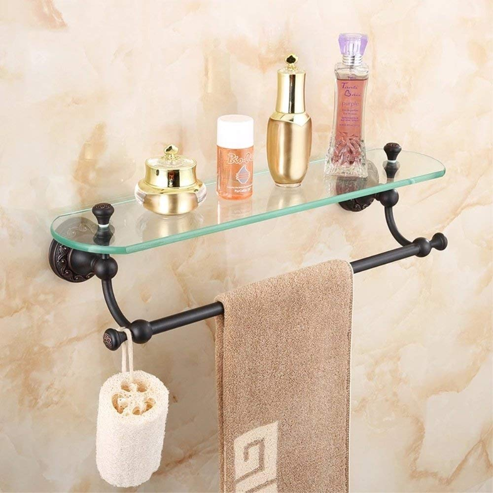 Get Quotations · Ruddock HBX19 Carved Antique Brass Cosmetic Holder Oil  Rubbed Bronze Glass Shelf Luxury Bathroom Rack Accessories