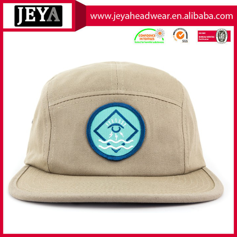100% cotton 5-panel camper hat Embroidered patch on the front panel