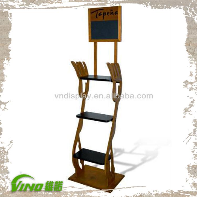 a66ab92689acc6 En bois présentoirs avec tableau d écriture, épices rack avec tableau noir,  rayonnage