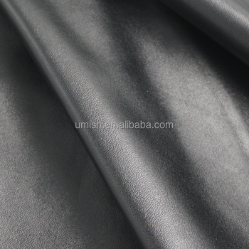 ECO FRIENDLY BLACK ELASTIC WATER BASED PU SYNTHETIC LEATHER FOR PANTS