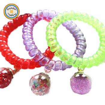 JHHD021 RDT Fashionable Korean Glass Ball Charm Large Transparent Telephone  Wire Cord Hair Ties with Multi 206109084fc