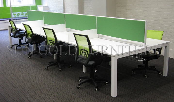 Four People Modern Melamine Board Glass Partition Office