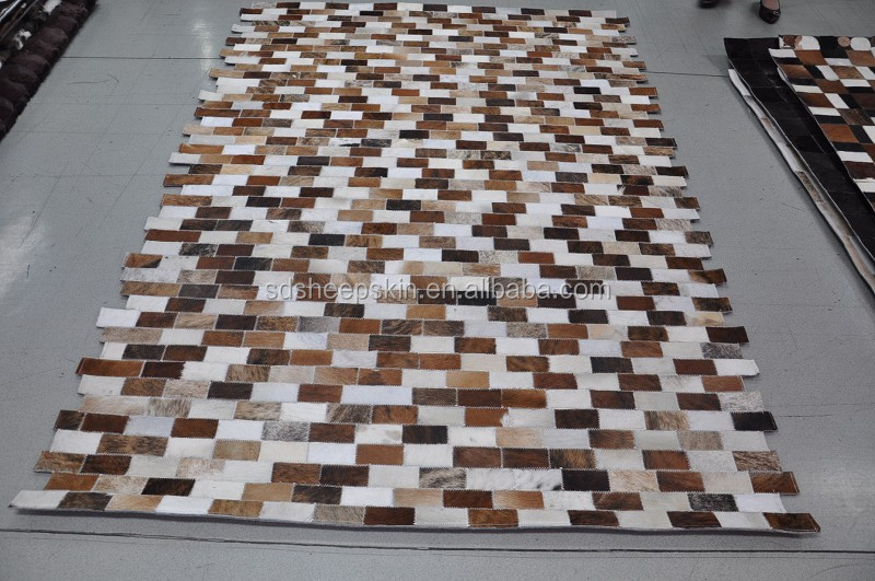 Nature Patchwork Cowhide Carpet Cow Hair On Leather Hide Floor Rug