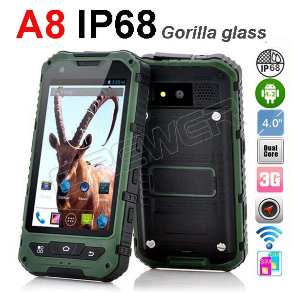 huge discount ccc66 2fc70 original IP68 rugged smartphone A8 Waterproof phone Dustproof Shockproof  GPS 3G Gorilla glass Android 4.2 Polish Russian Menu