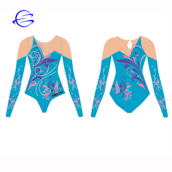 Guangzhou Factory Custom Design Gym Wear Long Sleeves rhythmic Competition Clothing Children Gymnastics Leotards