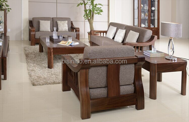 North American Black Walnut Wood Sofa Set High End Solid Comfortable Fabric