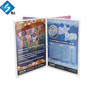 China Manufacturer Custom Acrylic Menu Displays Stand with Brochure Holder Pocket Offset Two on Each Side