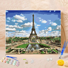 DIY Oil Canvas Digital Painting By Numbers Paints Eiffel Tower