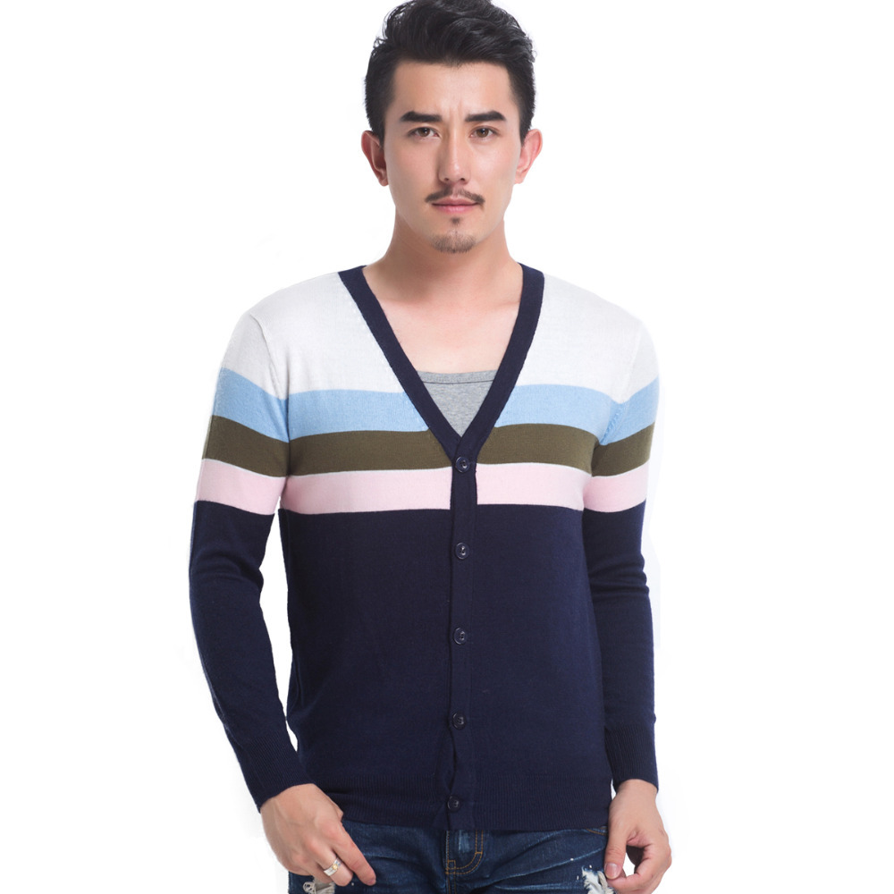 1ecc74645a Buy Striped Design Fashion Men Cardigan Long Sleeve V Neck Cotton Casual  Wear Mens Cardigans Sweater Red Blue XL in Cheap Price on Alibaba.com