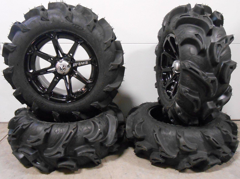 "Bundle - 9 Items: MSA Black Diesel 14"" ATV Wheels 27"" Mega Mayhem Tires [4x110 Bolt Pattern 10mmx1.25 Lug Kit]"