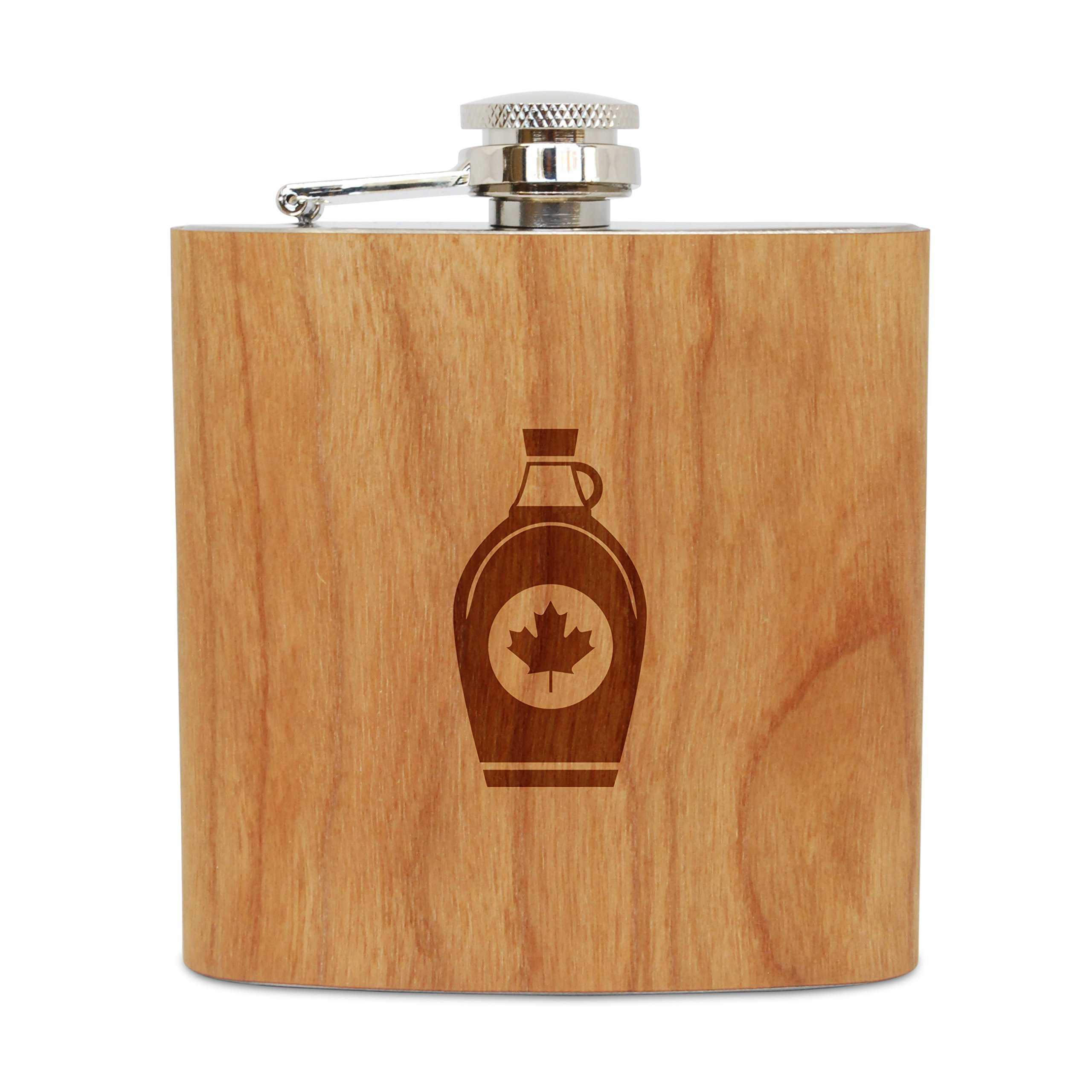 WOODEN ACCESSORIES COMPANY Cherry Wood Flask With Stainless Steel Body - Laser Engraved Flask With Maple Syrup Design - 6 Oz Wood Hip Flask Handmade In USA