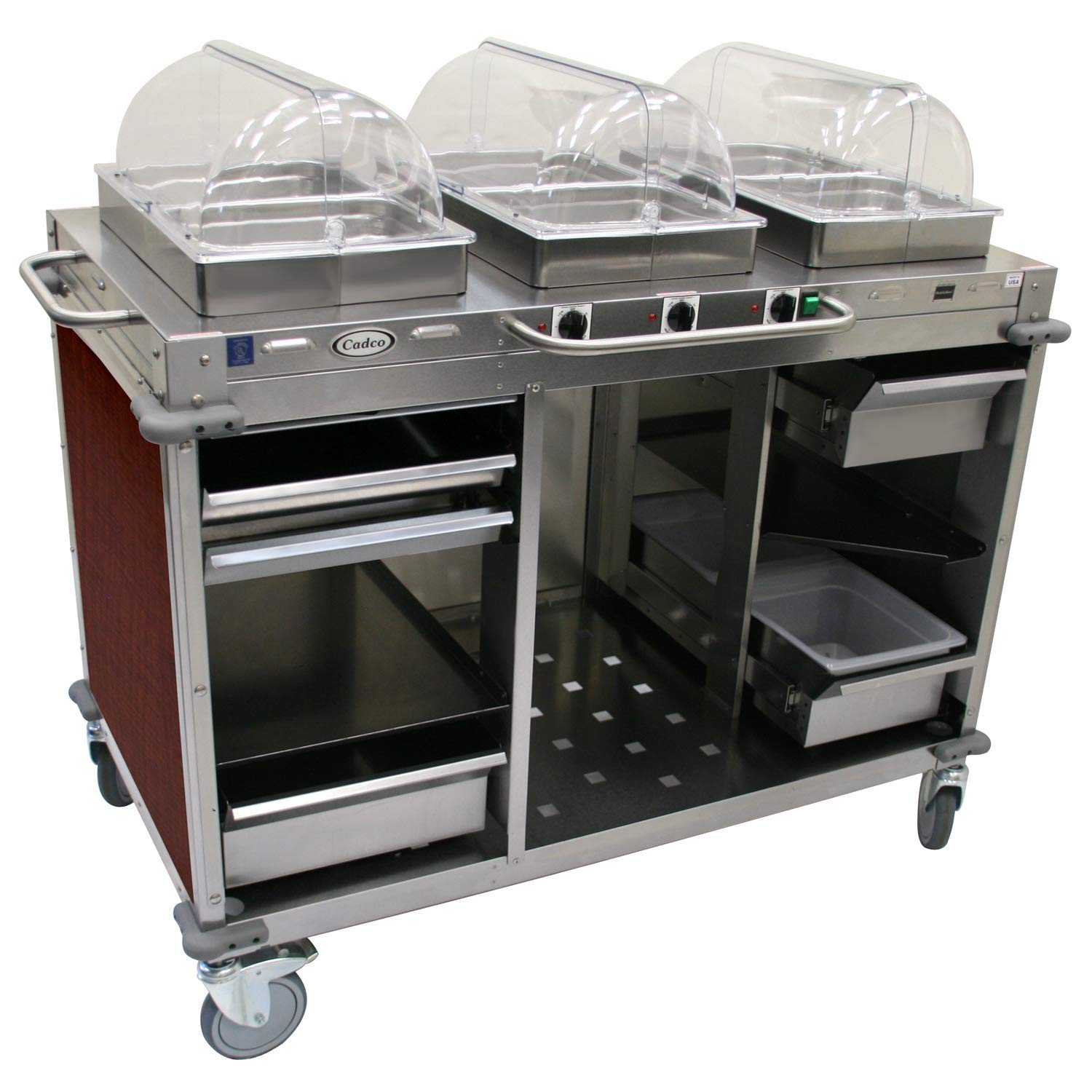 "Mobile Hot Buffet Cart Size: 49"" H x 55.5"" W x 28.75"" D, Color: Versailles Cherry"