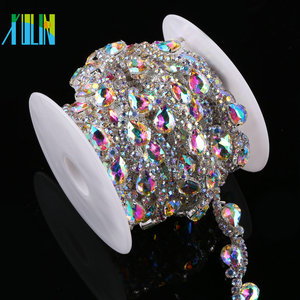 Crystal Trimming Chain Metal Studs Rhinestone Trim For Clothes
