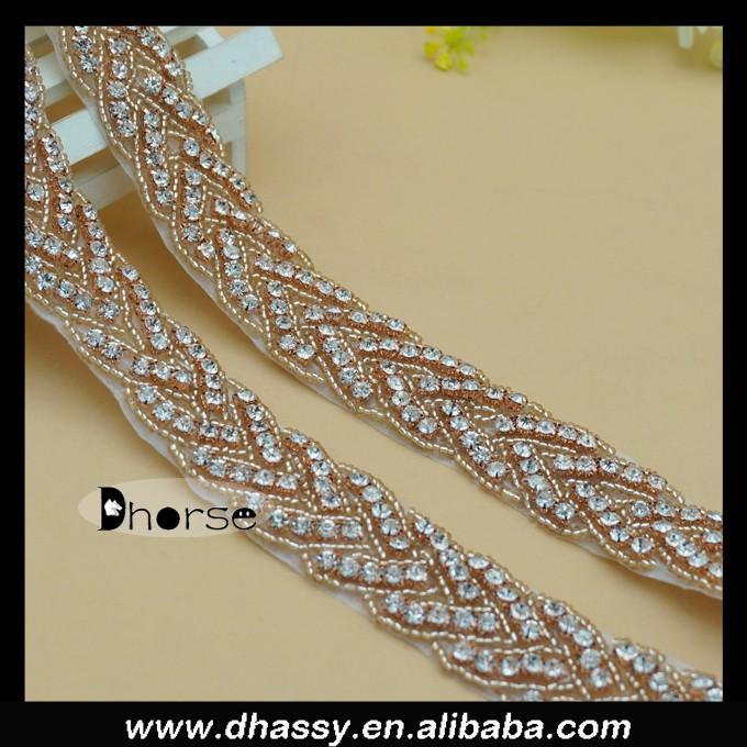 Passamaneria Per Abiti.Hot Sale 2016 Fashion Rose Gold Rhinestone Crystal Trimmings Beaded Diamond Trims For Dresses Wedding Waist Decoration Dh 1150 Buy Rose Gold