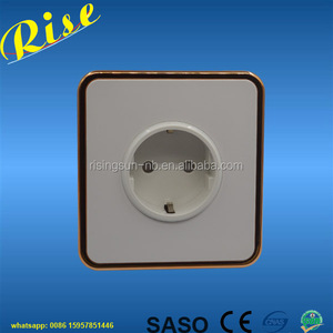 German Type screwless G1.6 Series shuko wall socket white Color with Golden frame