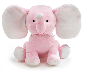 Oem Odm Factory Big Ear Plush Sitting Pink Elephant Stuffed Pp