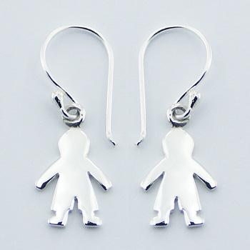 Sterling Silver Baby Boy Silhouette Dangle Earrings