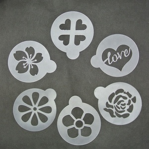 PP-6-2 DIY 6 Pcs/set Customized cappuccino latte coffee decorating plastic shape stencil Cute Pattern Cake Stencil