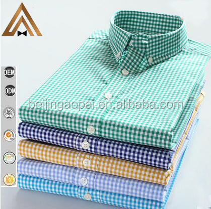 New clothing s to 3xl size fine cotton green color new pattern check shirt for men 2016